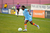 Eniola Aluko (18) of Sky Blue FC. The Philadelphia Independence and Sky Blue FC played to a 2-2 tie during a Women's Professional Soccer (WPS) match at Yurcak Field in Piscataway, NJ, on April 10, 2011.