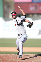 Sam Holland (19) of the Lake Elsinore Storm pitches during a game against the Inland Empire 66ers at San Manuel Stadium on May 27, 2015 in San Bernardino, California. Lake Elsinore defeated Inland Empire, 12-9. (Larry Goren/Four Seam Images)