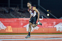 Olabanji Asekun of Texas A&M competes in first round of long jump during West Preliminary Track & Field Championships at John McDonnell Field, Thursday, May 29, 2014 in Fayetteville, Ark. (Mo Khursheed/TFV Media via AP Images)