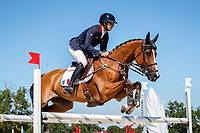 FRA-Sebastien Cavaillon rides Sarah d'Argouges during the Jumping for the CCIO4*-S. FRA-Le Grand Complet - Haras du Pin FEI Nations Cup Eventing. Le Pin au Haras. Normandie. France. Saturday 14 August 2021. Copyright Photo: Libby Law Photography