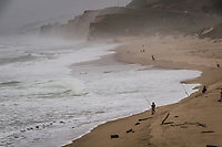 On a moist, misty weekday, multiple anglers tend their polls along the shoreline at Pescaderal State Beach on the California coast south of San Francisco.