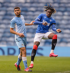 25.07.2020 Rangers v Coventry City: Calvin Bassey clears from Maxime Biamou