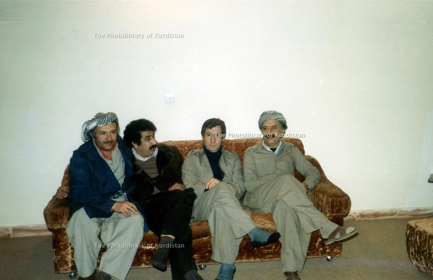 Iran 1979  In Mahabad, 3rd from left, Hassan Shatavi  with Abdul Rahman Ghassemlou Iran 1979 A Mahabad, 2eme a droite Hassan Shatavi assis a coté de Abdul Rahman Ghassemlou