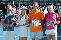 January 31, 2016: Elena Vesnina of Russian Federation and Bruno Soares of Brazil, and Coco Vandeweghe of United States of America and Horia Tecau of Romania pose for photos after the final of the Mixed Doubles on day fourteen of the 2016 Australian Open Grand Slam tennis tournament at Melbourne Park in Melbourne, Australia. Vesnina and Soares won 64 46 105. Photo Sydney Low