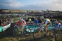 top trio in lap 2: Kevin Pauwels (BEL), Tom Meeusen (BEL) & Lars van der Haar (NLD)<br /> <br /> 2014 Noordzeecross<br /> Elite Men