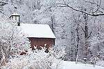 Snowbound barn in Harvard, MA, USA