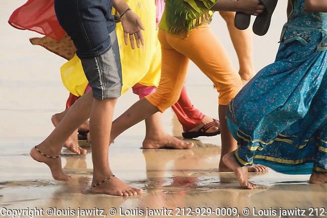 india, <br /> Feet, Kovalam ,Beach, Kerala,Old ,versus new,Saris, and, Jeans,