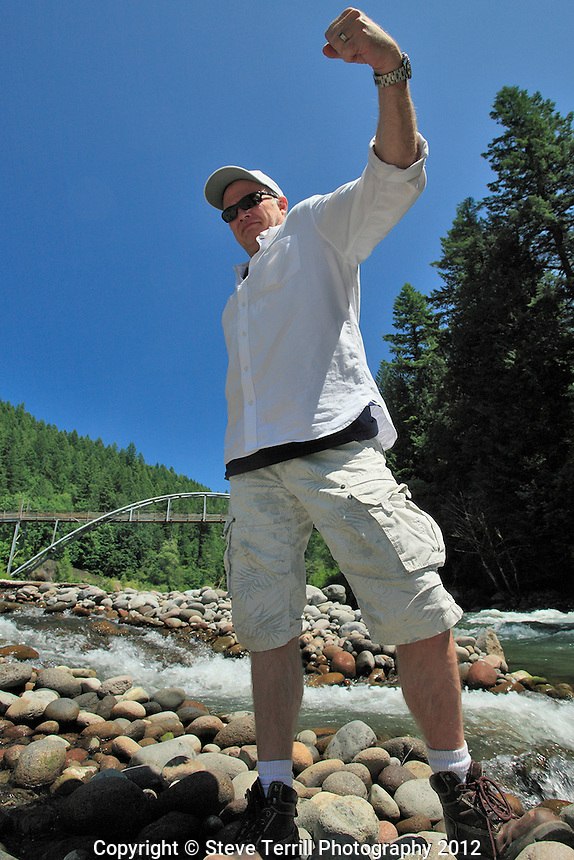 Donimique showing posing for the camera along the Sandy River