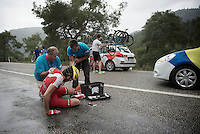 Romain Lemarchand (FRA/Cofidis) crashed (hard) as many other before him did while already going extremely slow on the slippery descent.<br /> Rain turned the downhill road into an ice track.<br /> The race needed to be neutralised because of this.<br /> <br /> <br /> Tour of Turkey 2014<br /> stage 4