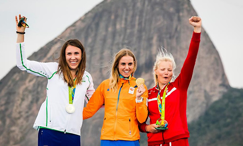 Ireland's Annalise Murphy (left) celebrates her silver medal in Rio five years ago, with Dutch gold medalist Marit Boumeester (centre) and Danish bronze medalist Anne Marie Rindom. All three are back on the Tokyo start line.
