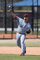 March 15, 2010:  Third Baseman Steve Nickel (12) of the Cortland Red Dragons in a game vs Wheaton College at Lake Myrtle Park in Auburndale, FL.  Photo By Mike Janes/Four Seam Images