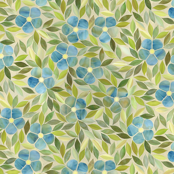 Jacqueline, a waterjet jewel glass mosaic, shown in Emerald, Alexandrite, Citrine and Peridot, is part of the Silk Road® collection by New Ravenna.