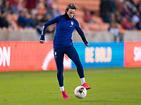HOUSTON, TX - JANUARY 28: Megan Rapinoe #15 of the United States warms up during a game between Haiti and USWNT at BBVA Stadium on January 28, 2020 in Houston, Texas.