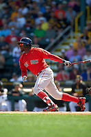 Boston Red Sox center fielder Rusney Castillo (38) at bat during a Spring Training game against the Pittsburgh Pirates on March 9, 2016 at McKechnie Field in Bradenton, Florida.  Boston defeated Pittsburgh 6-2.  (Mike Janes/Four Seam Images)
