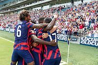 KANSAS CITY, KS - JULY 18: Shaq Moore #20 of the United States during a game between Canada and USMNT at Children's Mercy Park on July 18, 2021 in Kansas City, Kansas.