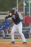 FCL Yankees Jake Pries (59) bats during a game against the FCL Blue Jays on June 29, 2021 at the Yankees Minor League Complex in Tampa, Florida.  (Mike Janes/Four Seam Images)
