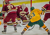 19 February 2016: Boston College Eagle Goaltender Thatcher Demko, a Junior from San Diego, CA, stops University of Vermont Catamount Defenseman Dan Senkbeil, a Senior from Fremont, CA, during the second period at Gutterson Fieldhouse in Burlington, Vermont. The Eagles defeated the Catamounts 3-1 in the first game of their weekend series. Mandatory Credit: Ed Wolfstein Photo *** RAW (NEF) Image File Available ***