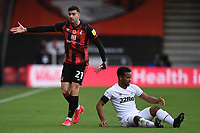 31st October 2020; Vitality Stadium, Bournemouth, Dorset, England; English Football League Championship Football, Bournemouth Athletic versus Derby County; Diego Rico of Bournemouth  after appeals to Referee Robert Jones after fouling Nathan Byrne of Derby County