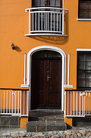 South Africa, Cape Town, Bo-kaap.  Private House Door, Window, Balcony.