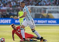 Action photo during the match Argentina vs Chile, Corresponding Group -D- America Cup Centenary 2016, at Levis Stadium<br /> <br /> Foto de accion durante el partido Argentina vs Chile, Correspondiante al Grupo -D-  de la Copa America Centenario USA 2016 en el Estadio Levis, en la foto: (i-d) Eduardo Vargas de Chile y Ramiro Funes Mori de Argentina<br /> <br /> <br /> 06/06/2016/MEXSPORT/David Leah.