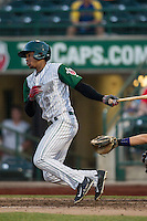 Fort Wayne TinCaps outfielder Rod Boykin (1) follows through on his swing against the West Michigan Whitecaps on May 23, 2016 at Parkview Field in Fort Wayne, Indiana. The TinCaps defeated the Whitecaps 3-0. (Andrew Woolley/Four Seam Images)