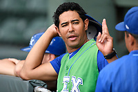 Coach Tony Pena Jr. (16) of the Lexington Legends in a game against the Greenville Drive on Friday, June 30, 2017, at Fluor Field at the West End in Greenville, South Carolina. Lexington won, 17-7. (Tom Priddy/Four Seam Images)
