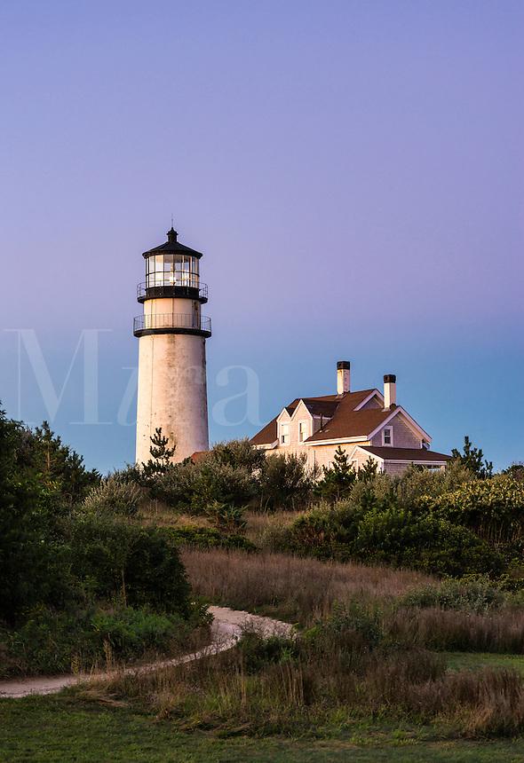 Rustic, weathered lighthouse, Highland Light, Truro, Cape Cod, Massachusetts, USA