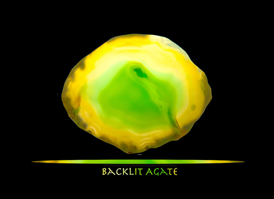 A fine addition to a series I'm creating featuring backlit agate slabs. This is one of my favorites so far due to the soft green to yellow color transition. I could stare at this all day !