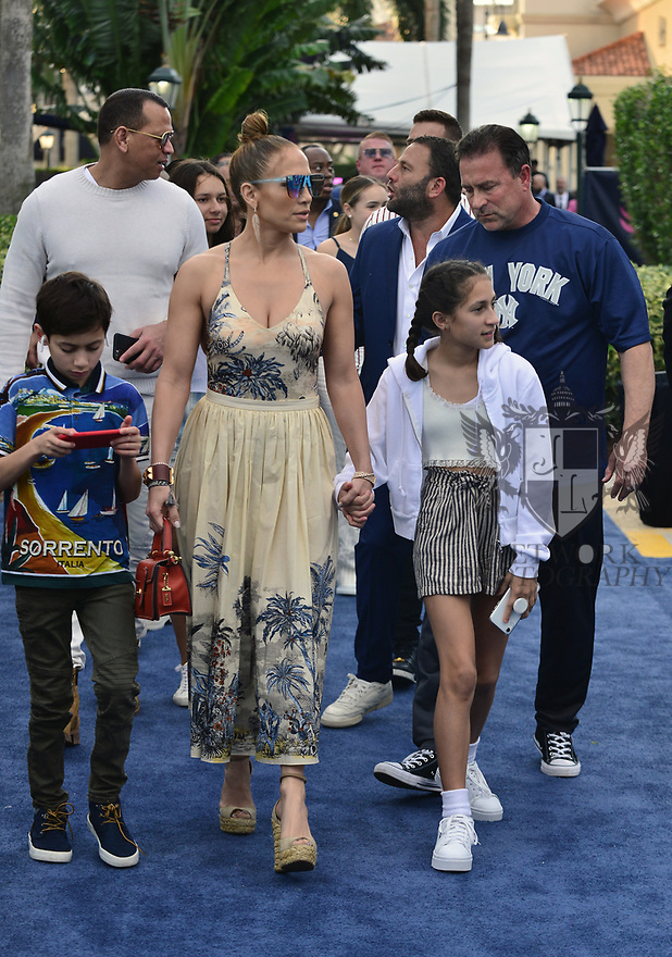 HALLANDALE BEACH, FL - JANUARY 25: Jennifer Lopez and Alex Rodriguez with children Emme Maribel Muñiz and Maximilian David Muñiz at the 2020 Pegasus World Cup Championship Invitational Series at Gulfstream Park - David Grutman's LIV Stretch Village on January 25, 2020 in Hallandale Beach, Florida.  ( Photo by Johnny Louis / jlnphotography.com )