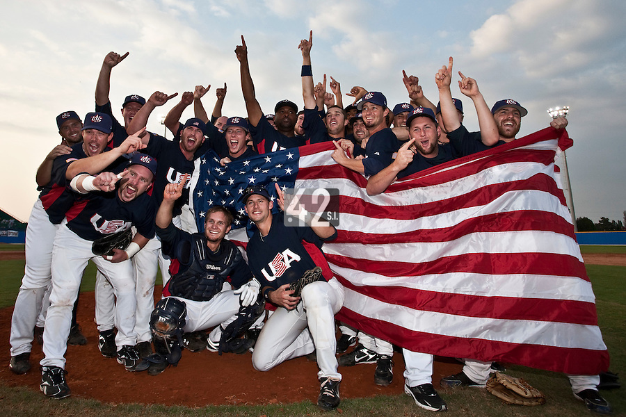 27 September 2009: Team USA members celebrate their victory after beating Cuba 10-5 during the 2009 Baseball World Cup gold medal game, in Nettuno, Italy.