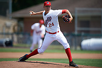 Auburn Doubledays starting pitcher Weston Davis (24) delivers a pitch during the second game of a doubleheader against the Mahoning Valley Scrappers on July 2, 2017 at Falcon Park in Auburn, New York.  Mahoning Valley defeated Auburn 3-2.  (Mike Janes/Four Seam Images)