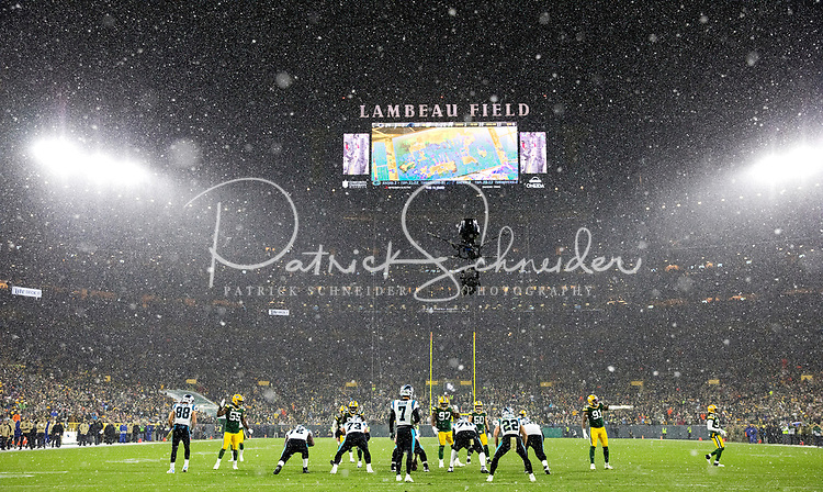 Photography of The Carolina Panthers v. The Green Bay Packers, during their Sunday afternoon NFL game at Lambeau Field in Green Bay, WI.<br /> <br /> Charlotte Photographer - PatrickSchneiderPhoto.com
