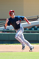 Washington Nationals minor league outfielder Bryce Harper (34) runs the bases during a game vs. the Detroit Tigers in an Instructional League game at Joker Marchant Stadium in Lakeland, Florida October 1, 2010.   Harper was selected in the first round, 1st overall, of the 2010 MLB Draft out of Southern Nevada Junior College.  Photo By Mike Janes/Four Seam Images