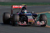 March 15, 2015: Carlos Sainz (ESP) #55 from the Scuderia Toro Rosso team rounds turn 2 during the 2015 Australian Formula One Grand Prix at Albert Park, Melbourne, Australia. Photo Sydney Low