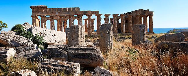 Fallen column drums of Greek Dorik Temple ruins  Selinunte, Sicily photography, pictures, photos, images & fotos. 58 Greek Dorik Temple columns of the ruins of the Temple of Hera, Temple E, Selinunte, Sicily