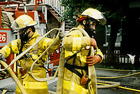 Montreal (QC) CANADA - 1988 File Photo -  Firemen at work