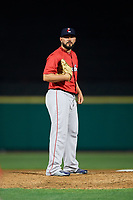Pawtucket Red Sox relief pitcher Robby Scott (36) looks in for the sign during a game against the Rochester Red Wings on May 19, 2018 at Frontier Field in Rochester, New York.  Rochester defeated Pawtucket 2-1.  (Mike Janes/Four Seam Images)