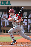 Michael Basil #7 of the University of Indiana Hoosiers at bat during a game against the Virginia Tech Hokies at Watson Stadium at Vrooman Field in Conway, South Carolina on February 18, 2011. Photo by Robert Gurganus/Four Seam Images