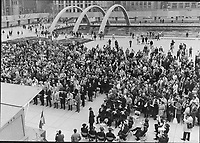 1970 FILE -<br /> <br /> About 2;000 people attended memorial service at Nathan Phillips Square yesterday for Quebec Labor Minister Pierre Laporte; who was murdered by FLQ terrorists last Saturday. Service; conducted by clergymen of seven denominations; was one of many across Canada Funeral for Laporte was in Montreal.<br /> <br /> PHOTO :  Jeff Goode - Toronto Star Archives - AQP
