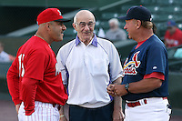 June 20th 2008:  Former Major League Manager Joe Altobelli with Dyar Miller, a roving coach for the St. Louis Cardinals, and Mark DeJohn, manager of the Batavia Muckdogs, before a game at Frontier Field in Rochester, NY - home of the Rochester Red Wings.  Photo by:  Mike Janes/Four Seam Images