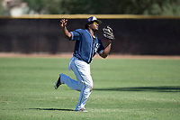 San Diego Padres second baseman Eguy Rosario (97) catches a pop fly during an Instructional League game against the Milwaukee Brewers at Peoria Sports Complex on September 21, 2018 in Peoria, Arizona. (Zachary Lucy/Four Seam Images)