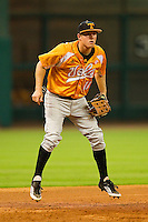 Tennessee Volunteers third baseman Zach Luther #11 on defense against the Houston Cougars at Minute Maid Park on March 2, 2012 in Houston, Texas.  The Cougars defeated the Volunteers 7-4.  (Brian Westerholt/Four Seam Images)