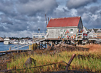 Lobster shacks, Badger's Island, Kittery, Maine, ME, USA