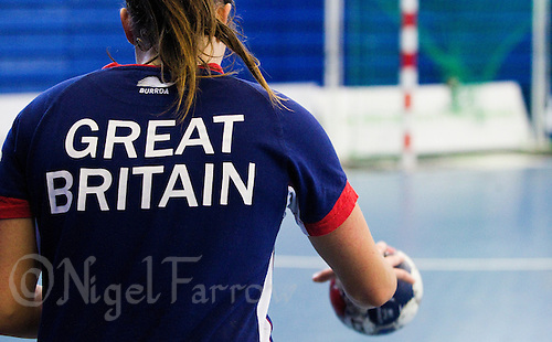 06 APR 2012 - LONDON, GBR - Ewa Palies prepares to practice shooting during a Great Britain women's handball training session at the National Sports Centre in Crystal Palace, Great Britain .(PHOTO (C) 2012 NIGEL FARROW)