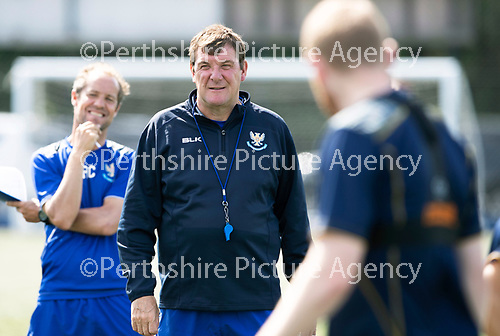 St Johnstone Training….27.07.18<br />Manager Tommy Wright with Assistant Manager Alec Cleland during training on the artificial pitch at McDiarmid Park this morning in preparation for tomorrow's Betfred Cup game at Forfar.<br />Picture by Graeme Hart.<br />Copyright Perthshire Picture Agency<br />Tel: 01738 623350  Mobile: 07990 594431