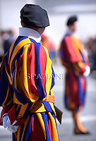 Pontifical Swiss Guard; Swiss Guard; Guardia Svizzera; Pontifical Swiss Guard; Guardia Svizzera Pontificia; Pope Francis during his weekly general audience in St. Peter square at the Vatican, Wednesday.May 14, 2014.