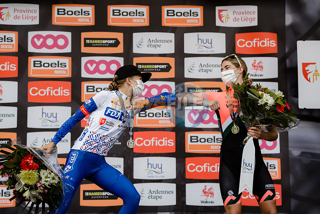 Cecilie Uttrup Ludwig (DEN) FDJ Nouvelle-Aquitaine Futuroscope finishes in 2nd place and Demi Vollering (NED) Parkhotel Valkenburg 3rd at the end of La Fleche Wallonne Femmes 2020, running 124km from Huy to Mur de Huy, Belgium. 30th September 2020.<br /> Picture: ASO/Thomas Maheux | Cyclefile<br /> All photos usage must carry mandatory copyright credit (© Cyclefile | ASO/Thomas Maheux)