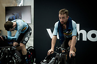 Victor Campenaerts (BEL/Qhubeka NextHash) warming down on the rollers post-race backstage<br /> <br /> Mixed Relay TTT <br /> Team Time Trial from Knokke-Heist to Bruges (44.5km)<br /> <br /> UCI Road World Championships - Flanders Belgium 2021<br /> <br /> ©kramon