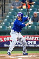 Iowa Cubs second baseman Logan Watkins (6) at bat against the Round Rock Express in the Pacific Coast League baseball game on July 21, 2013 at the Dell Diamond in Round Rock, Texas. Round Rock defeated Iowa 3-0. (Andrew Woolley/Four Seam Images)