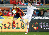 Spain's Jordi Alba (l) and Finland's Hamalainen during international match of the qualifiers for the FIFA World Cup Brazil 2014.March 22,2013.(ALTERPHOTOS/Acero)